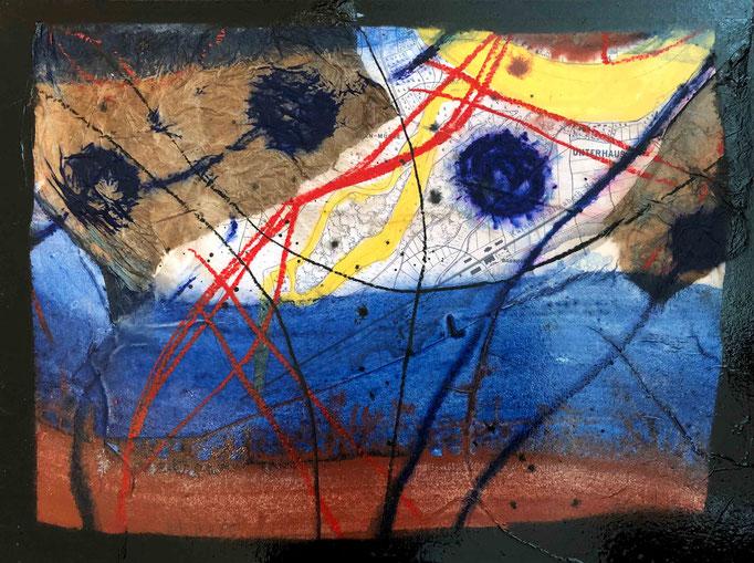 Situation:Donau II, #5, 2020, Mischtechnik mit Collage auf Dibond, 30x40 cm
