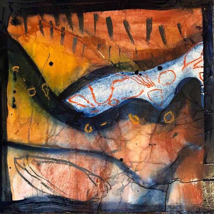 Fragment:Donau, #1, 2021, Mischtechnik mit Collage auf Dibond, 60x60 cm