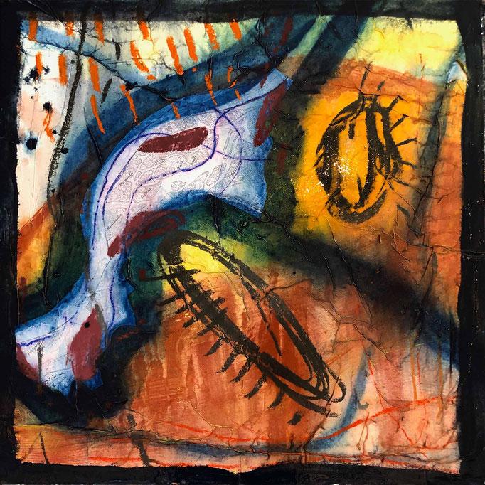 Fragment:Donau, #6, 2021, Mischtechnik mit Collage auf Dibond, 60x60 cm