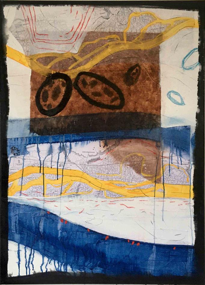 Situation:Donau, #2, 2020, Mischtechnik auf Papier auf Leinwand, 110x80 cm