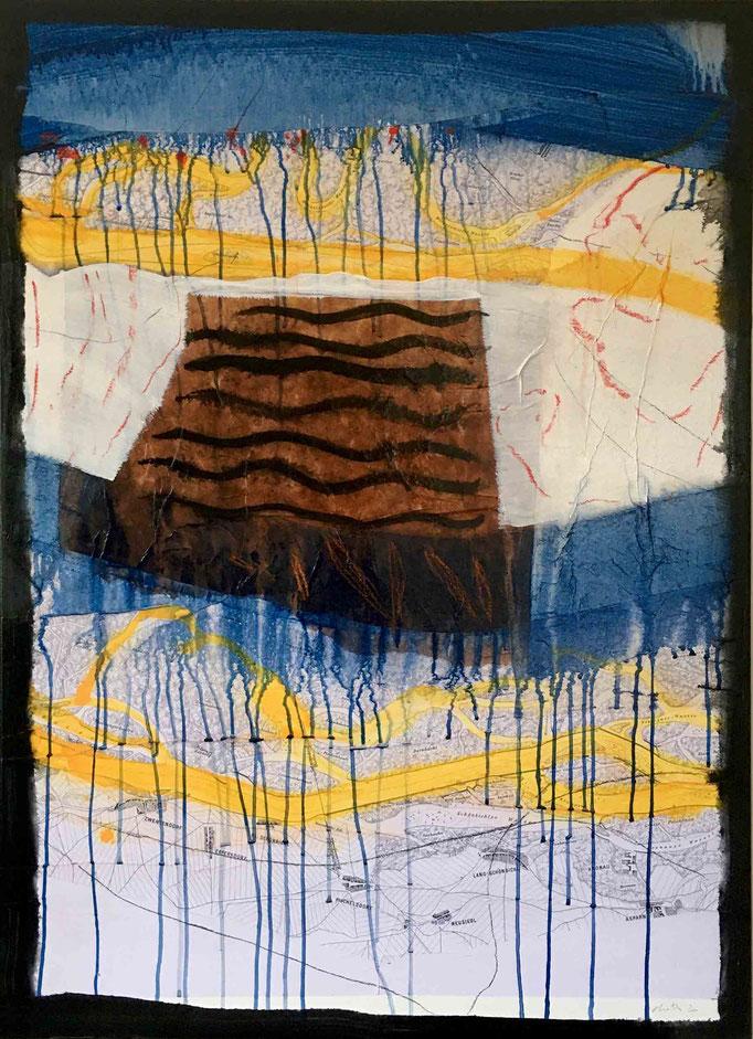 Situation:Donau, #1, 2020, Mischtechnik auf Papier auf Leinwand, 110x80 cm