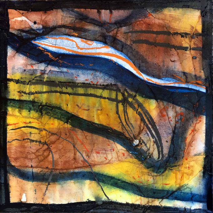 Fragment:Donau, #2, 2021, Mischtechnik mit Collage auf Dibond, 60x60 cm