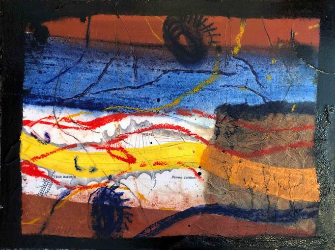 Situation:Donau II, #2, 2020, Mischtechnik mit Collage auf Dibond, 30x40 cm