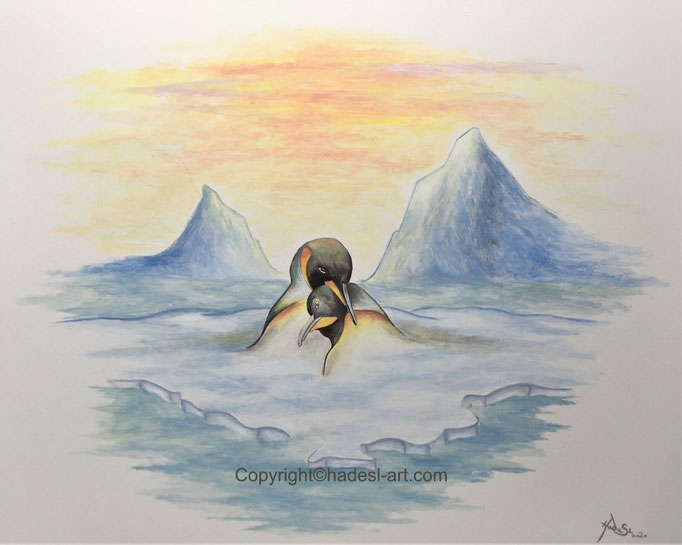 """Pinguine""...Öl auf Holz 2020 (40x50 cm)"