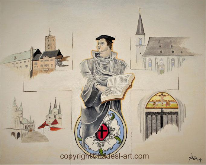"""Martin Luther""...Öl auf Holz 2017  (55 cm x 65 cm)"