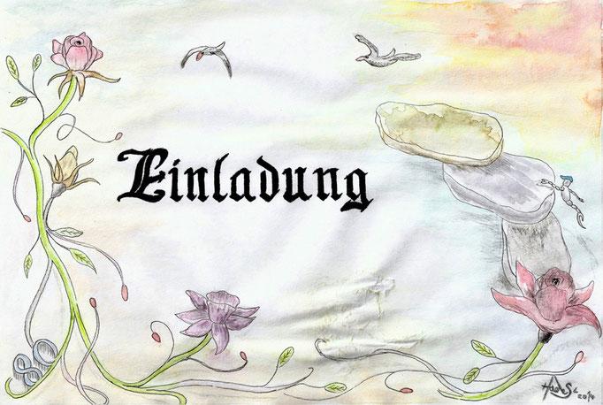 """""""Einladung""""...mit Aquarell und Zeichentusche 2014"""