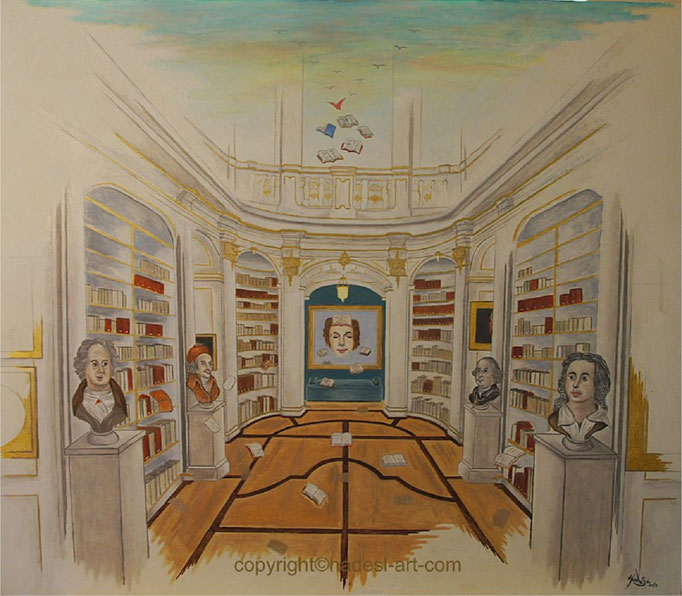"""""""Anna Amalia und ihre Bücher""""...Öl auf Holz 2018  (67 cm x 80 cm)"""