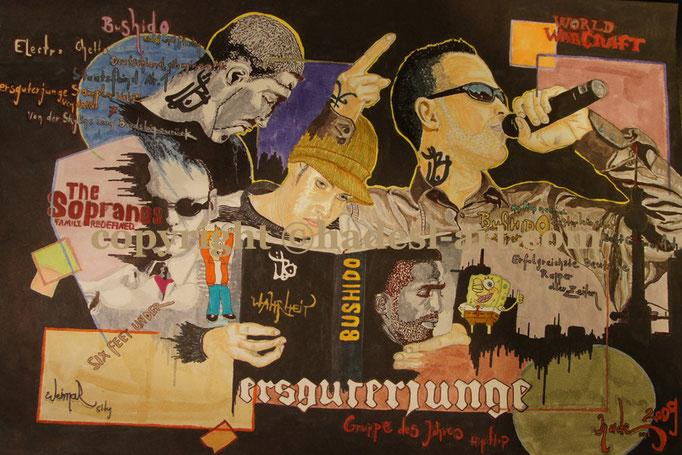 """""""Bushido""""...Copic u. Touch auf Papier 2009, 42x30 cm"""