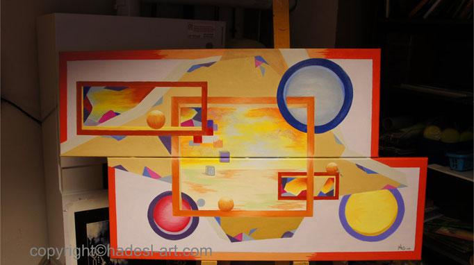 """""""Gleichnis""""...Öl auf 2 Leinwände 2016  (60 cm x 104 cm)"""
