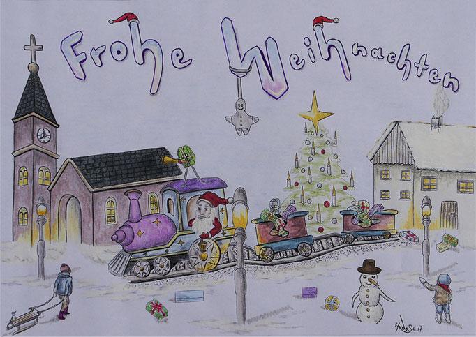 """""""Weihnachtskarte""""...Bunt-, Copic/Touchstifte 2017"""