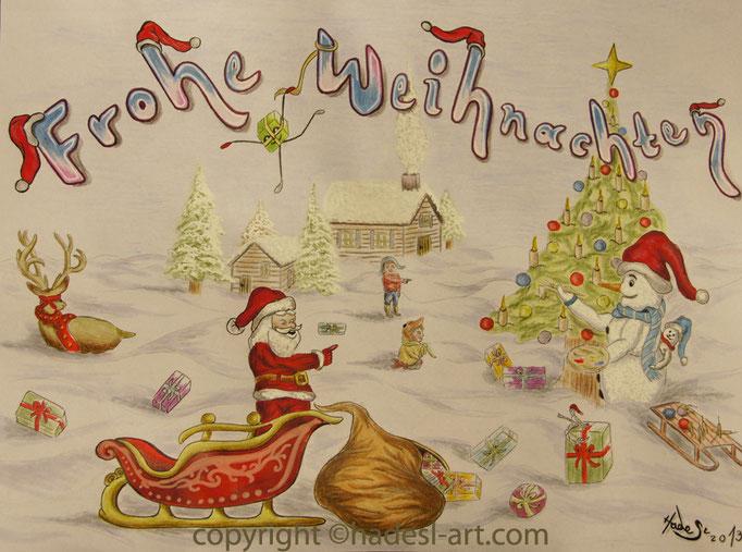 """""""Weihnachtskarte""""...Bunt-, Copic/Touchstifte auf Papier 2013  (21 cm x 29,7 cm)"""