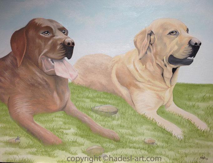"""Hundemotiv""...Ölfarbe auf Holz 2015  (60 cm x 80 cm)  verkauft"