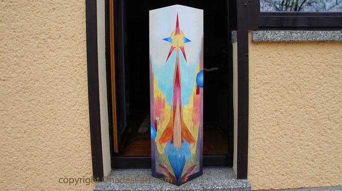 """Prismaturm""...Acryl auf Dreieckssäule 2015  (90 cm x 28 cm)"
