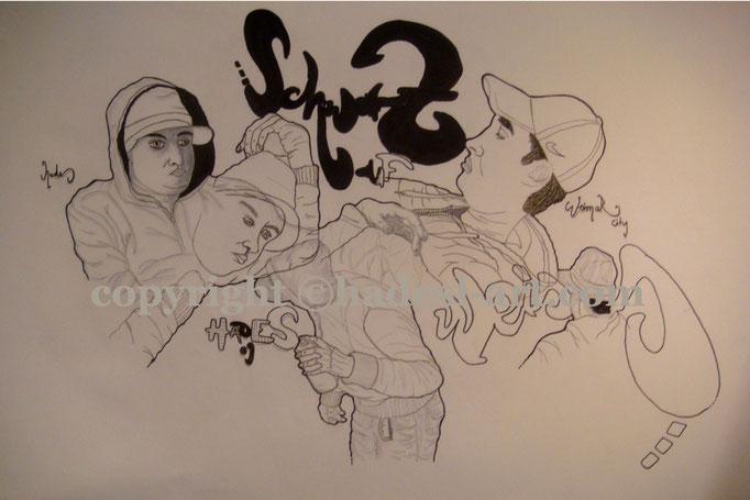 """""""Schwarzaufweiss""""...Copic auf Papier 2009, 42x30 cm"""