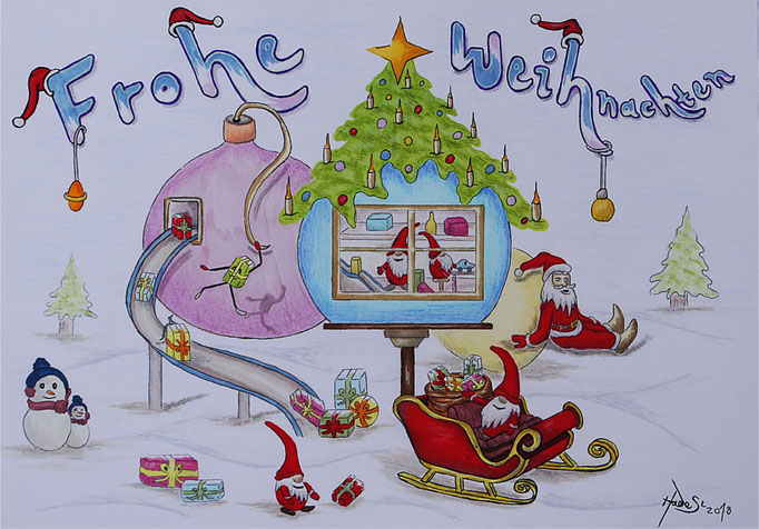 """""""Weihnachtskarte""""...Bunt-, Copic/Touchstifte 2018  (21 cm x 29,7 cm)"""