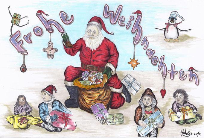 """""""Weihnachtskarte""""...Bunt-, Copic/Touchstifte auf Papier 2012, 30x20 cm"""