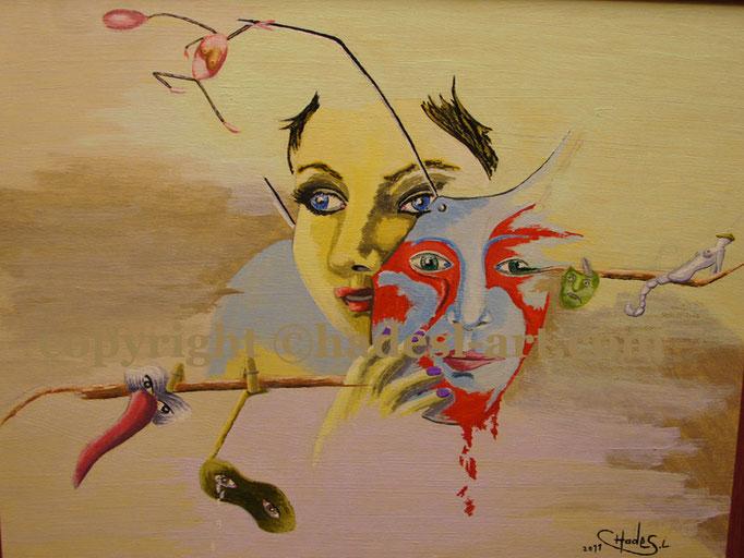 """MaskeFrau""...Acryl auf Holz 2011  (45 cm x 55 cm)  verkauft"
