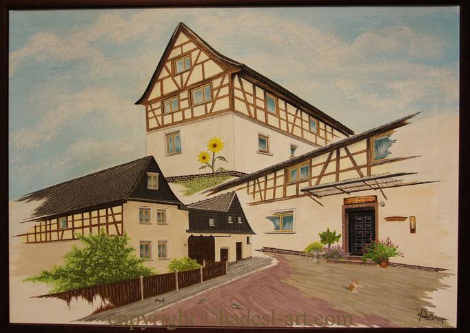 """"""" Fachwerkhaus in Sachsen """"... Acryl auf Leinwand 2012  (60 cm x 50 cm)  verkauft"""