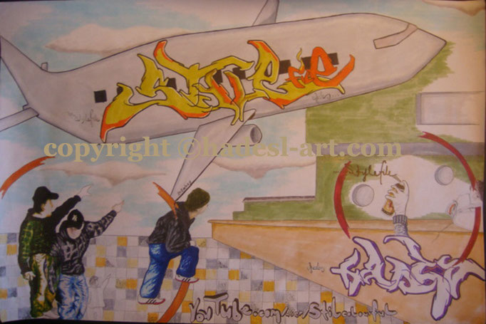 """Air-Stylefile""...Copic u. Touch auf Papier 2009  (30 cm x 42 cm)"