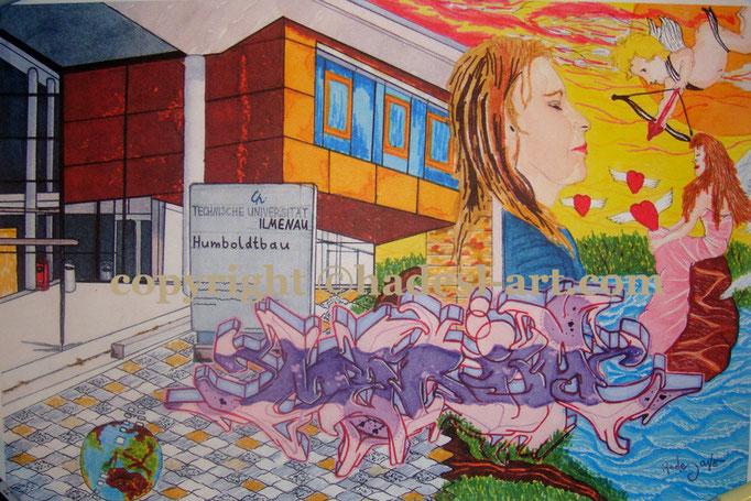 """Ehrgeizig""...Copic u. Touch auf Papier 2009, 42x30 cm"