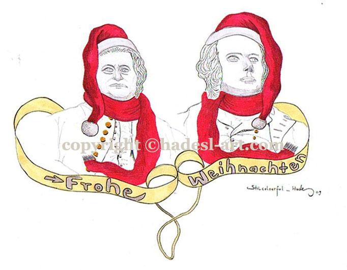 """""""Weihnachtskarte""""...Copic u. Touch auf Papier 2009, 30x20 cm"""