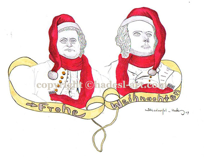 """""""Weihnachtskarte""""...Copic u. Touch auf Papier 2009  (21 cm x 29,7 cm)"""