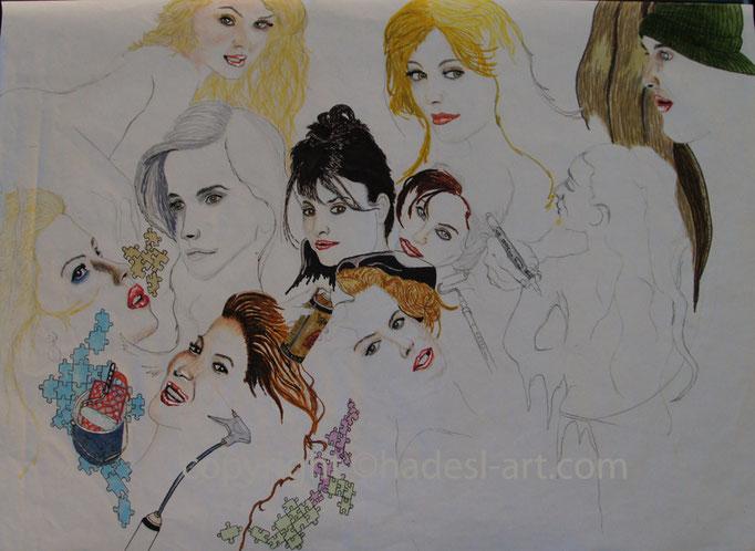 """""""Berühmtheiten unvollendet""""...Copic/Touch-, Buntstifte auf Papier 2009-"""