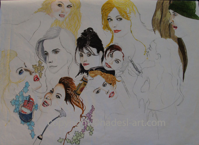 """""""Berühmtheiten unvollendet""""...Copic/Touch-, Buntstifte auf Papier 2009-  (30 cm x 42 cm)"""