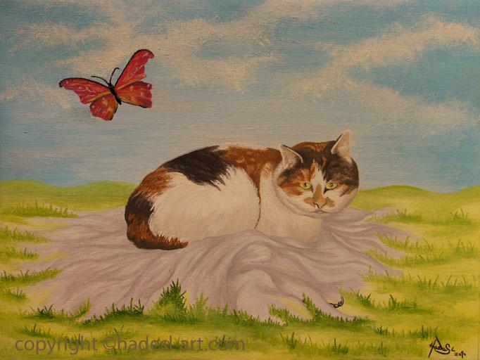 """""""Die Katze""""  mit Ölfarbe auf Leinwand 2014  (30 cm x 40 cm)  verkauft"""