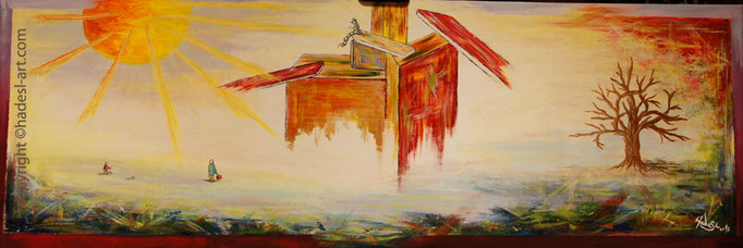 """Traumfabrik""...Acryl auf Leinwand 2014  (40 cm x 120 cm)  verkauft"