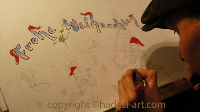"""""""Weihnachtskarte""""...Bunt-, Copic/Touchstifte auf Papier 2013"""