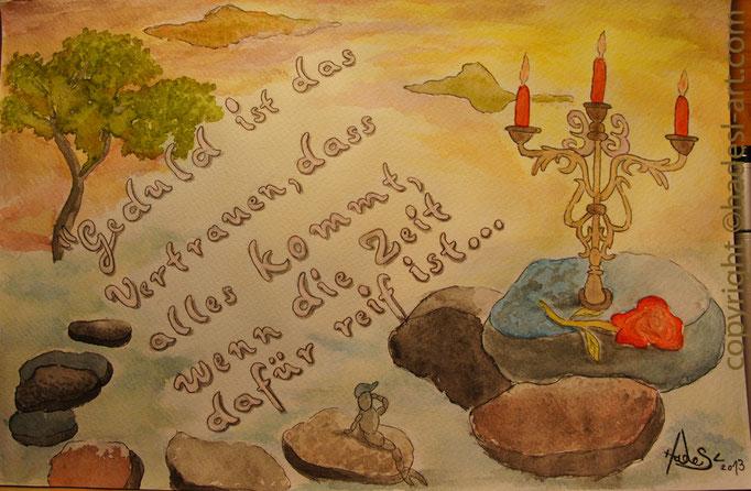 """""""Gedanken 2013""""...mit Aquarell auf Papier, 30 x 20 cm  verkauft"""