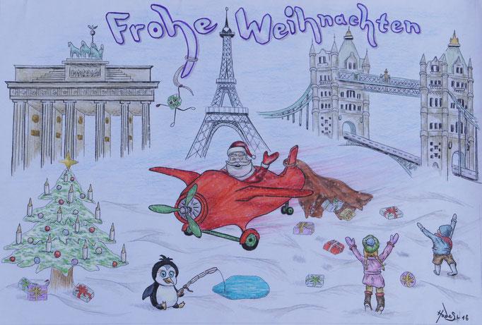 """""""Weihnachtskarte""""...Bunt-, Copic/Touchstifte auf Papier 2016"""