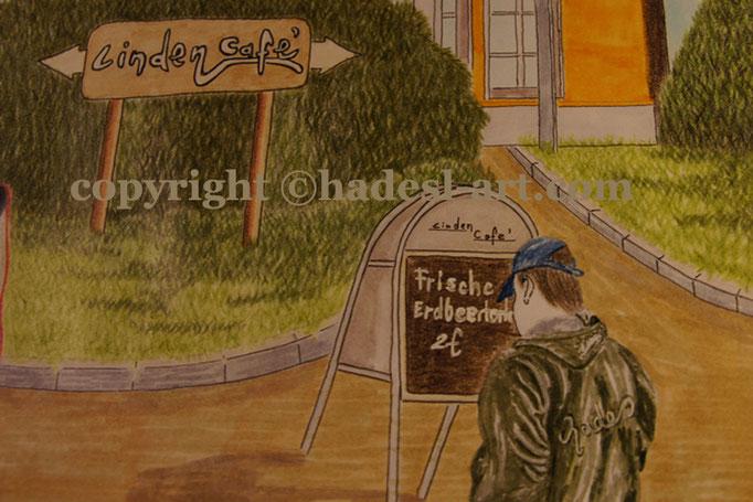 """""""Das LindenCafe""""...Buntstifte, Copic auf Papier 2011 (30 cm x 42 cm)  verkauft"""
