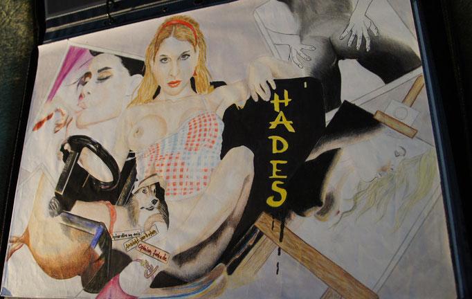 """Nackte Motive""...Buntstifte, Copic auf Papier 2008 (30 cm x 42 cm)"