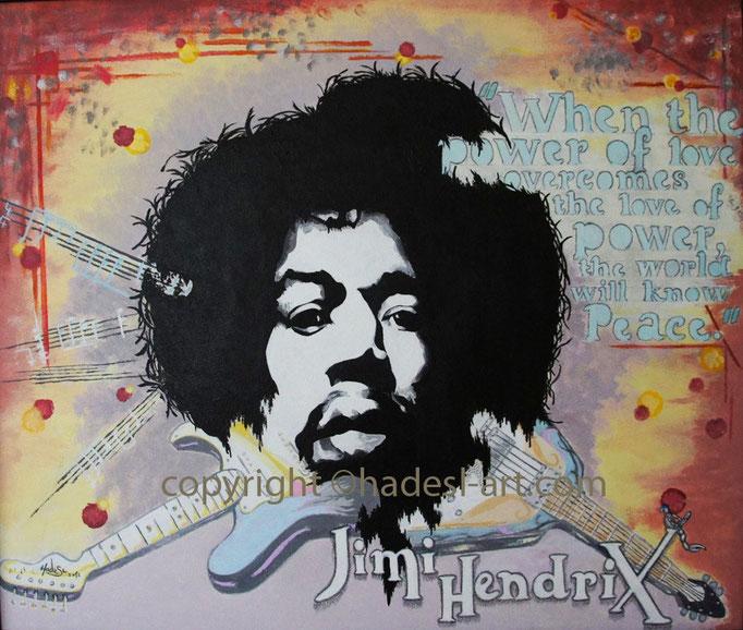 """Jimi Hendrix""...Acryl auf Holz 2012  (50 cm x 60 cm)  verkauft"