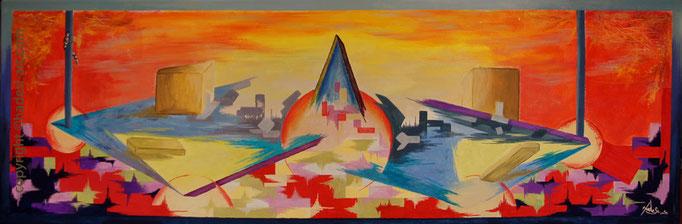 """""""Impulse""""...Acryl auf Leinwand 2014  (40 cm x 120 cm)"""