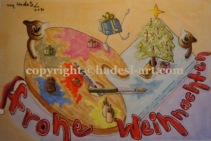 """""""Weihnachtskarte""""...Copic u. Touch auf Papier 2010, 30x20 cm"""