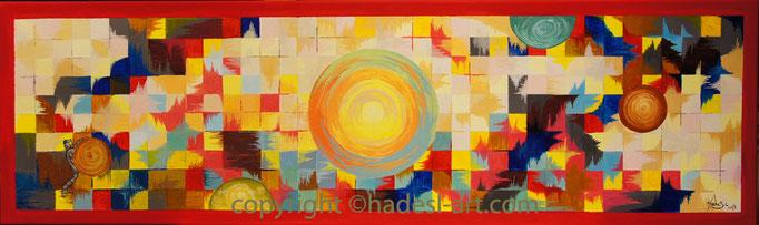 """"""" Unendliche Welten """"...Acryl auf Leinwand 2012, 30 x 100 cm"""
