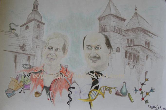 """Kreative Menschen""...Copic u. Buntstifte 42x30 cm, Leinwand 2011"
