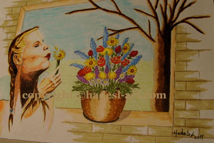 """""""Erinnerung""""...Copic u. Touch auf Papier 2011, 30x20 cm"""