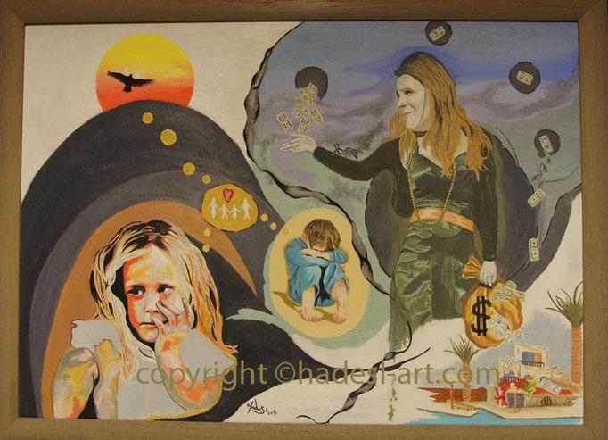 """Kinderarmut""...Öl auf Leinwand 2012  (50 cm x 70 cm)"