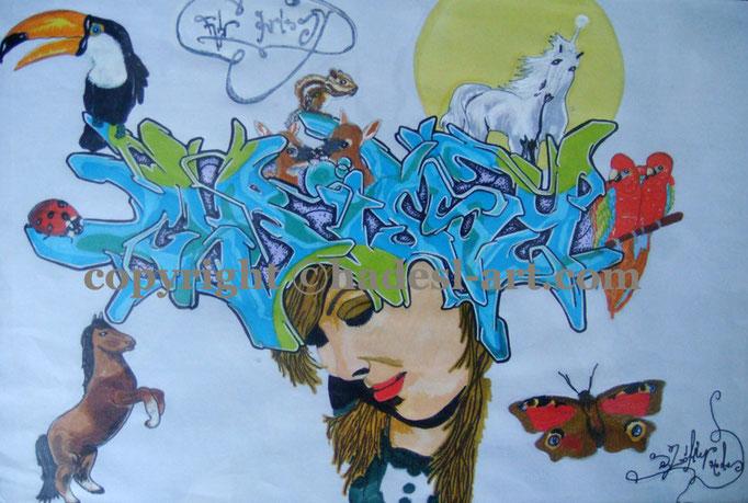 """""""Liebe wunderbar""""...Copic u. Touch auf Papier 2009, 42x30 cm"""