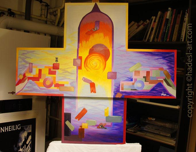 """""""Fliegende Formen""""...Öl auf drei Leinwände 2014  (90 cm x 100 cm)"""