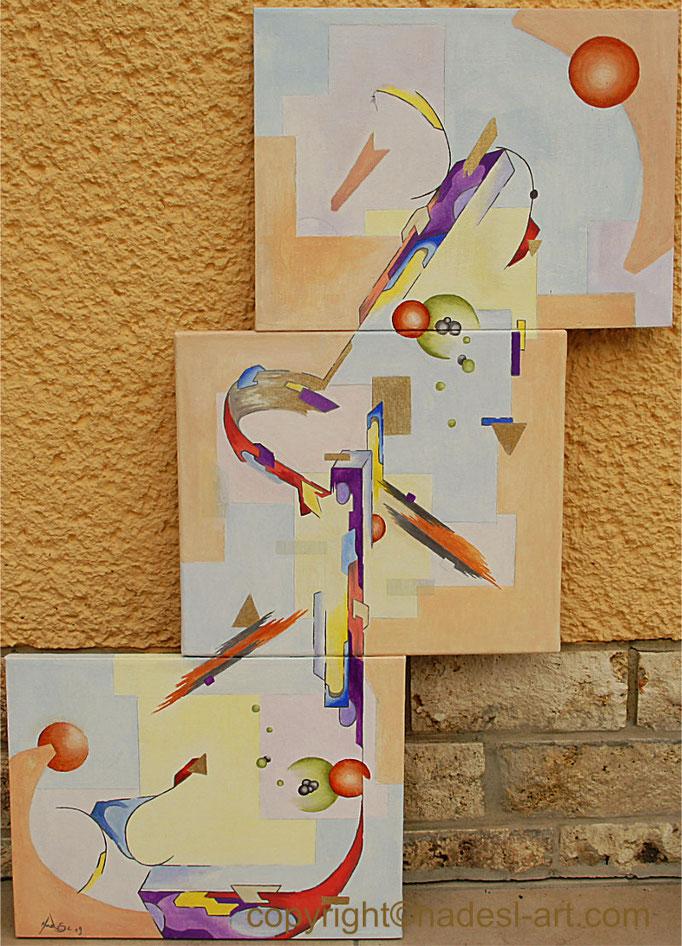 """""""Formenvielfalt""""...Öl auf 3 Leiwänden 2019  (93 cm x 65 cm)"""