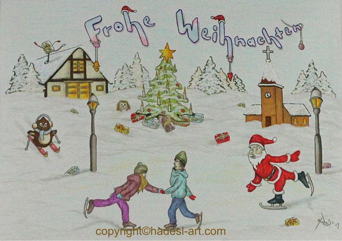 """""""Weihnachtskarte""""...Copic, Buntstifte 2019  (21 cm x 29,7 cm)"""