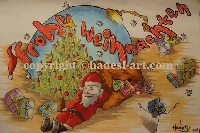 """""""Weihnachtskarte""""...Copic u. Touch auf Papier 2011, 30x20 cm"""