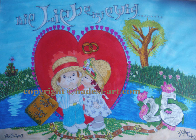 """""""LiebeEwig""""...Copic u. Touch auf Papier 2008, 42x30 cm"""