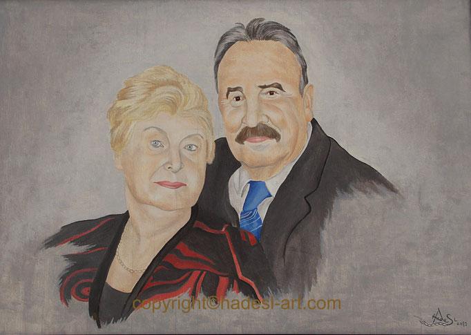 """""""Meine Eltern""""...Öl auf Holz 2019  (56 cm x 77 cm)  verkauft"""