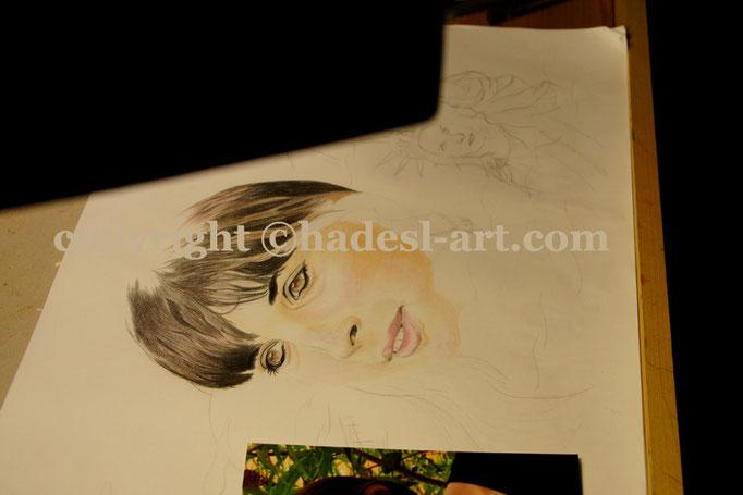 """Portrait""...Buntstifte auf Papier 2011, 42x30 cm"